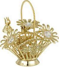 DAISY-FLOWER-BASKET-SHOW-PIECE-24K-GOLD-PLATED-GIFT-SWAROVSKI-CRYSTALS-
