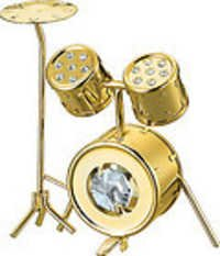 DRUMS-SHOW-PIECE-24K-GOLD-PLATED-GIFT-SWAROVSKI-CRYSTALS-