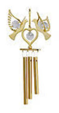 WIND-CHIME-DOUBLE-DOVE-24K-GOLD-PLATED-GIFT-SWAROVSKI-CRYSTALS-