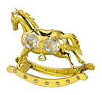 HORSE-ROCKING-24K-GOLD-PLATED-GIFT-SWAROVSKI-CRYSTALS-