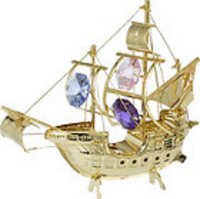 SAILING-SHIP-SANTA-MARIA-SHOW-PIECE-24K-GOLD-PLATED-GIFT-SWAROVSKI-CRYSTLS-