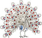 PEACOCK-LARGE-SHOW-PIECE-SILVER-PLATED-GIFT-COLOR-CRYSTALS-