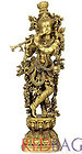 Venugopal Lord Krishna - Fine Quality Large Size Brass Sculpture of Hindu God