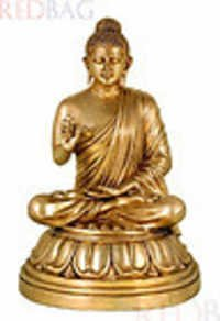 Lord Gautama Buddha - Fine Quality Brass Statue, Indian Art Sculpture
