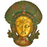 Lord Shiva Mask in Nepalese Style - Brass Wall Hanging