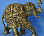Traditional Elephant Handmade Brass Statue with Ganesh figure on Back rare gift