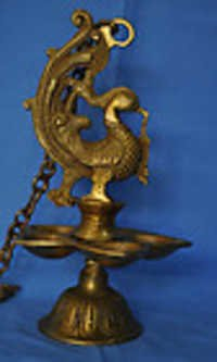 Hanging Bird Oil lamp with chain Metal Brass made Statue for home Decoration art