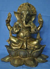 Large Sitting Ganesh a nice handmade brass Statue Murti Murthi unique gift craft