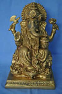 Antique Finish Metal Brass Handmade Religious Temple worship God Ganesh 6 inch