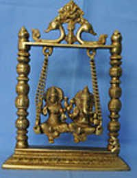 Swing Laxmi Ganesh Brass handmade murti nice art of collection for home , house