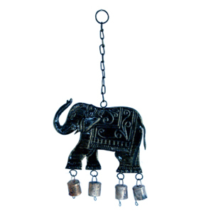 Little India Jaipuri Elephant Door Hanging in Black Metal - 202