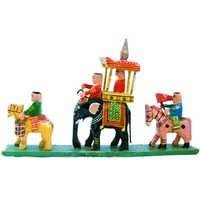 Little India Royal Maharaja Procession Wood Handicraft Item 204