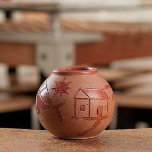 Handcrafted Terracota Round Flower Vase - 08