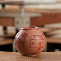 Handcrafted Terracota Round Flower Vase - 08