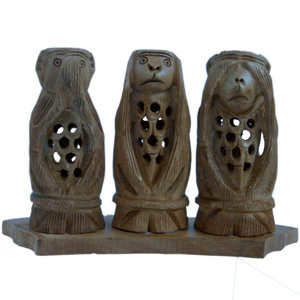 Little India Gandhi Monkey Set Fine Carved Wood Handicraft -158