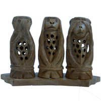Little India Gandhi Monkey Set Fine Carved Wood Handicraft -158