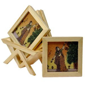 Little India Precious Gemstone Painting Tea Coaster Set -117