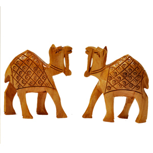 Little India Hand Carved Wooden Camel Pair Handicraft Gift -128