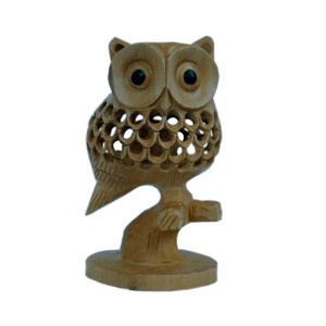 Little India Good Luck Sign Wooden Owl Sitting Tree Branch -180