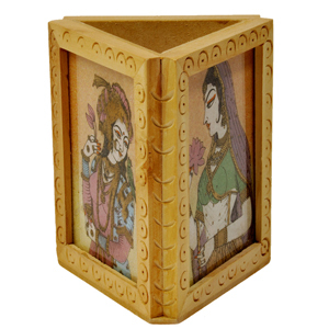 Little India Beautiful Gemstone Painting Pen Stand Gift -119