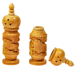 Little India Hand Carved Wooden Salt Pepper Dispenser Gift -129