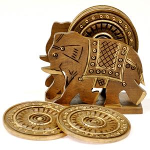 Little India Elephant Design Wooden Tea Coaster Handicraft -110