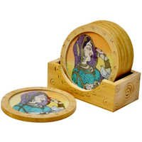 Little India Gemstone Painting Wooden Tea Coasters Gift -111