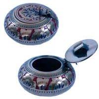 Little India Pure Brass Meenakari Work Ash Tray Handicraft - 203