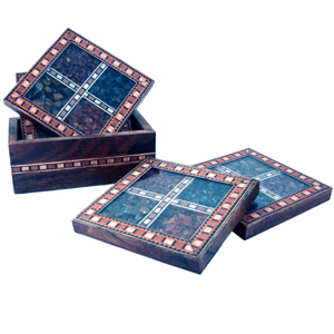 Little India Antique Design Gemstone 4 Tea Coaster Set -198