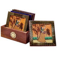 Little India Gemstone Painting Pure Brass Tea Coasters Gift 112
