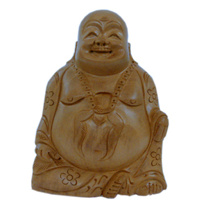 Little India Good Luck Laughing Buddha in Fine Carved Wood -194