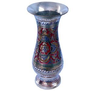 Little India Colourful Meenakari Work Flower Vase Pure Metal 173