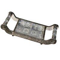 Little India Pure White Metal Dry fruit Tray Handicraft Gift 113