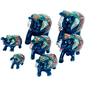 Little India Handmade Papier Mache Work 7 Piece Elephant Set-175