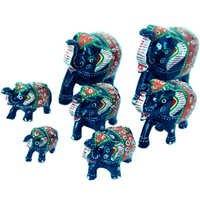 Little India Handmade Papier Mache Work 7 Piece Elephant Set-175