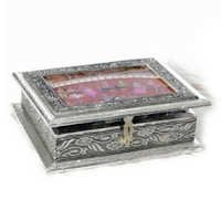 An Attractive oxidised white metal Mughal painted Jewellery box - WHM0915