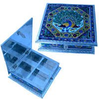Little India White Metal Pure Meenakari Work Dry Fruit Box -191