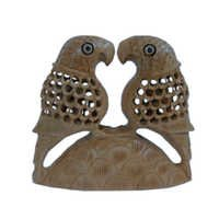 Little India Fine Carved Wood Parrot Pair Handicraft Gift -197