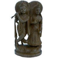 Little India Ethnic Lord Radha Krishna Idol Wood Handicraft 148