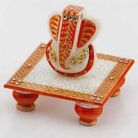 Marvel in Marble - Gold Embossed Lord Ganesh with Chowki - 51