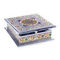 Lovely White Metal Meenakari Work White Metal Jewellery Box_Whm0916