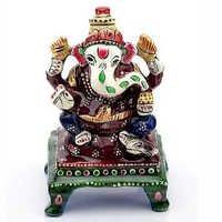 Handpainted Enamelled Metal Lord Ganapati - 08