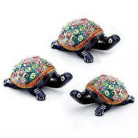 Handpainted Enamelled Metal Tortoise Set - 17