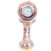 Little India Ethnic Design Marble Table Clock Handicraft -145