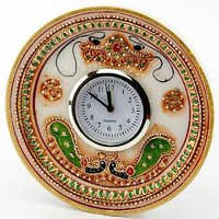 Marvel in Marble - Gold Embossed Round Alarm Clock with Kundan Work - 53