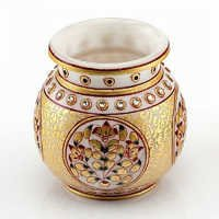 Marvel in Marble - Gold Embossed Round Vase - 65