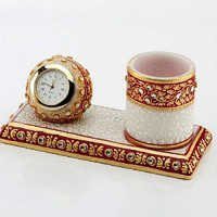 Marvel in Marble - Gold Embossed Pen Stand with Watch - 50