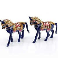 Handpainted Enamelled Metal Rajwada Horse Pair - 06