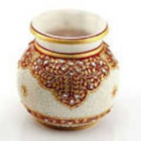 Marvel in Marble - Gold Embossed Round Vase with Kundan Work - 66