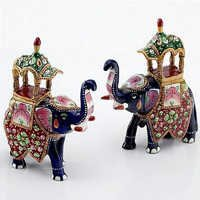 Handpainted Enamelled Metal Ambari Elephant Pair - 05